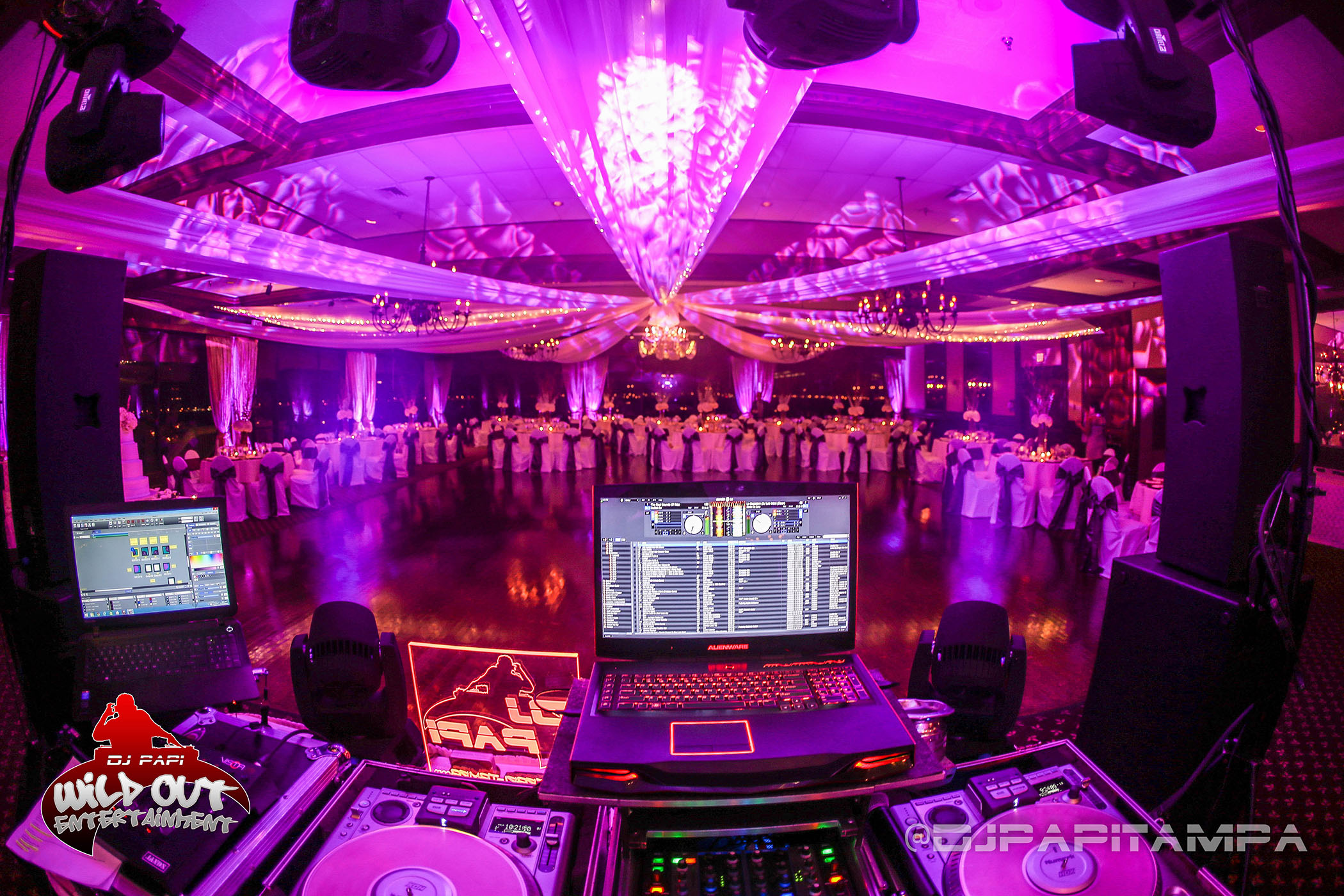 Lights & DJ Setup for a Wedding at Rusty Pelican, Tampa, FL